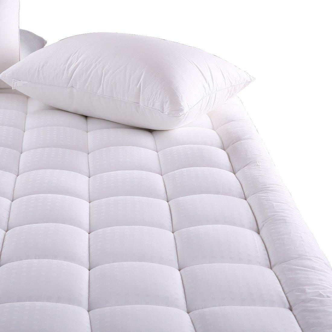 Amazon.com: MEROUS Queen Size Cotton Mattress Pad   Pillow Top