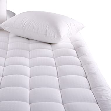MEROUS Queen Size Cotton Mattress Pad - Pillow Top Hypoallergenic Quilted Mattress Topper,Fitted 18 Inch Deep Pocket Mattress Pad Cover