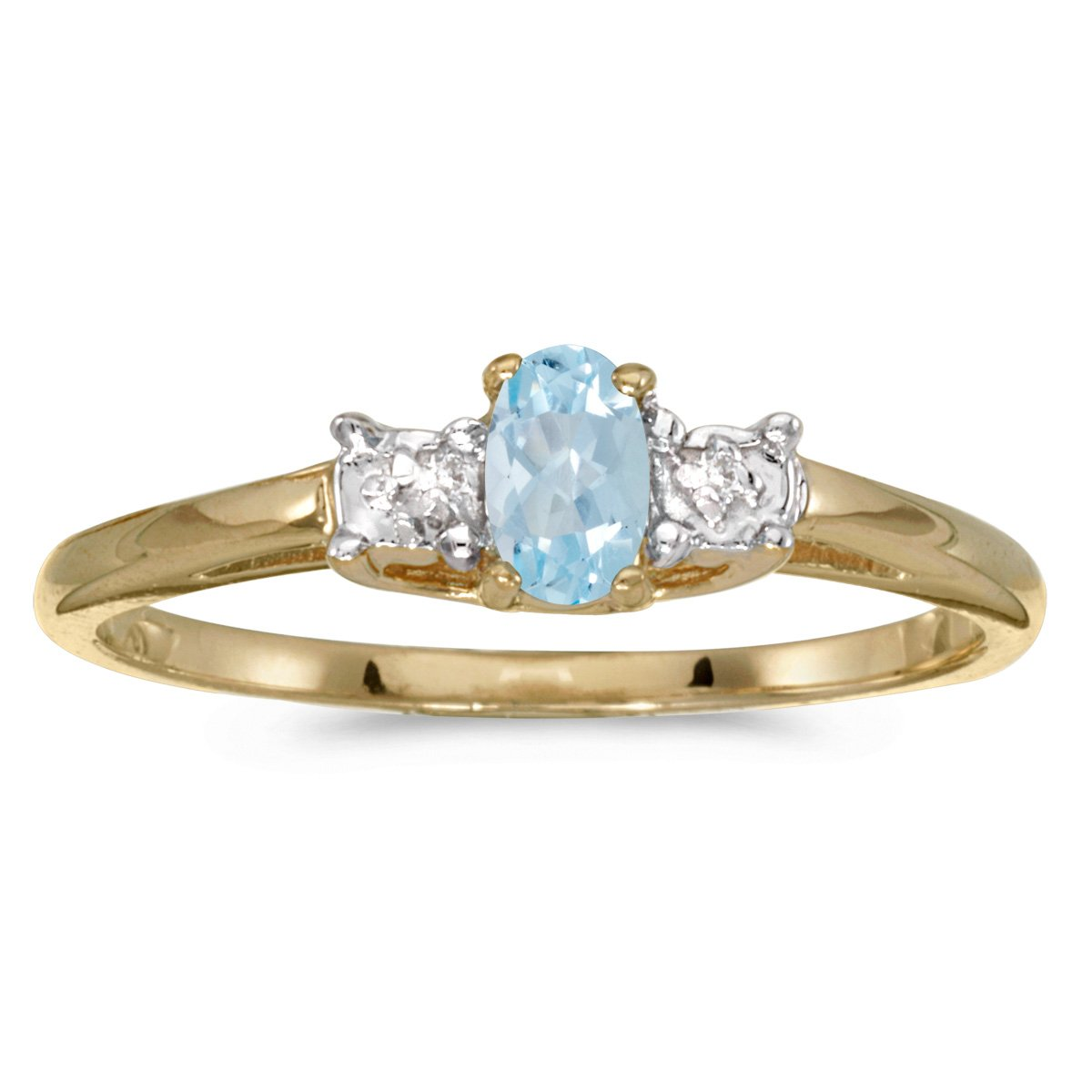 0.14 Carat (ctw) 10k Yellow Gold Oval Aquamarine and Diamond 3 Three Stone Engagement Classic Engagement Promise Ring (5 x 3 MM) - Size 10