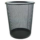 Zuvo 0-57398B Circular Metal Mesh Waste Paper Bin Lightweight Black (27 cm (h) x 24 cm (d))