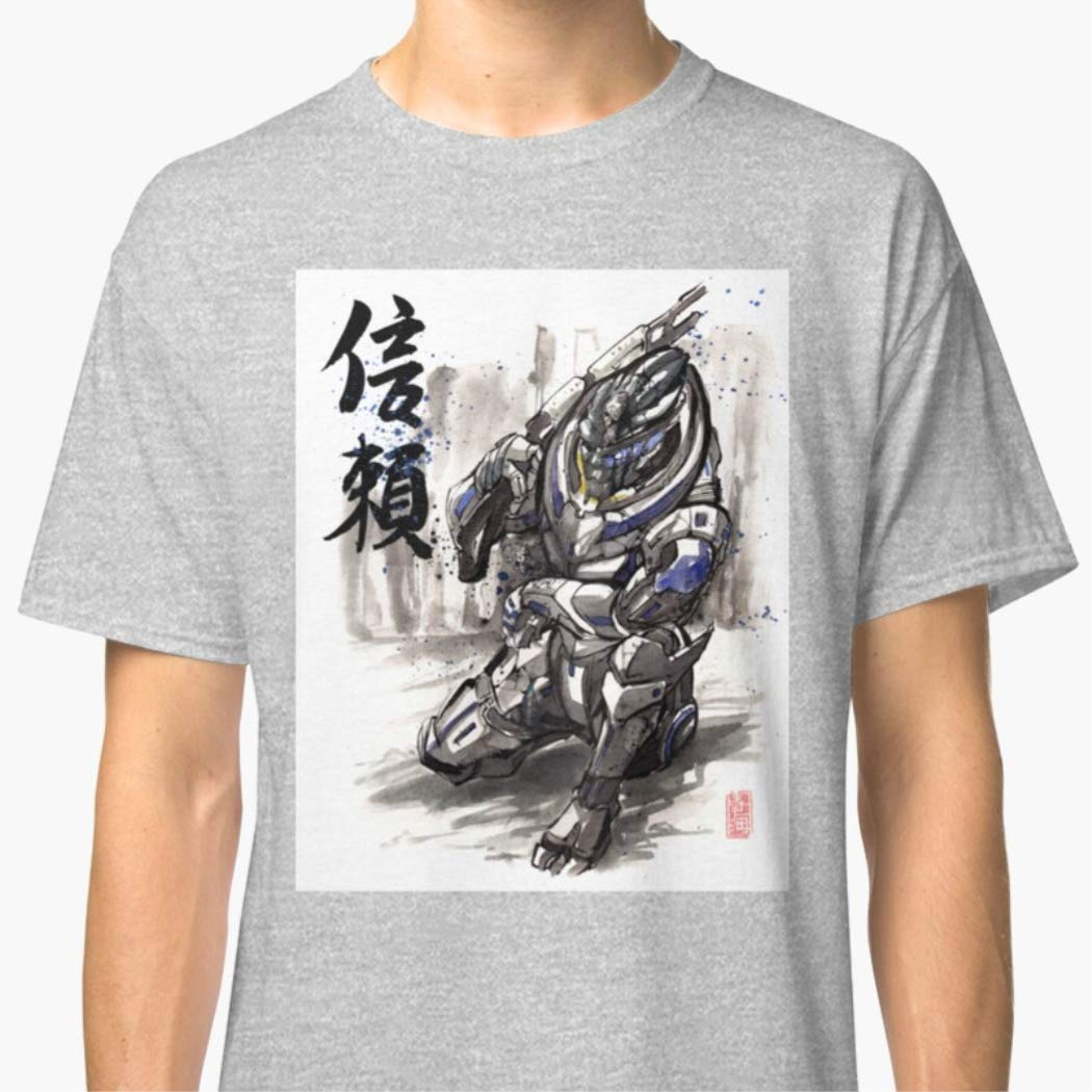 Unisex T-Shirt Mass Effect Garrus Sumie Style With Japanese Calligraphy Shirts For Men Women Mothers Day T Shirts
