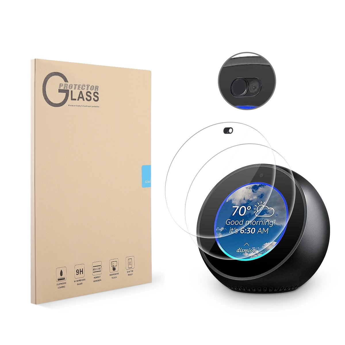 LANMU Echo Spot Screen Protector Webcam Cover,High Definition Screen Protector Echo Spot Webcam Cover Protecting Everyone's Privacy,Echo Spot Accessories-2 Screen Protector 1 Webcam Cover