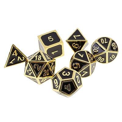 Gazechimp Lot 7pcs Dés à Jouer Dés Polyédriques Nombres en Métal Dice D4-D20 pour Jeux de Rôle Party Bar - d'Or