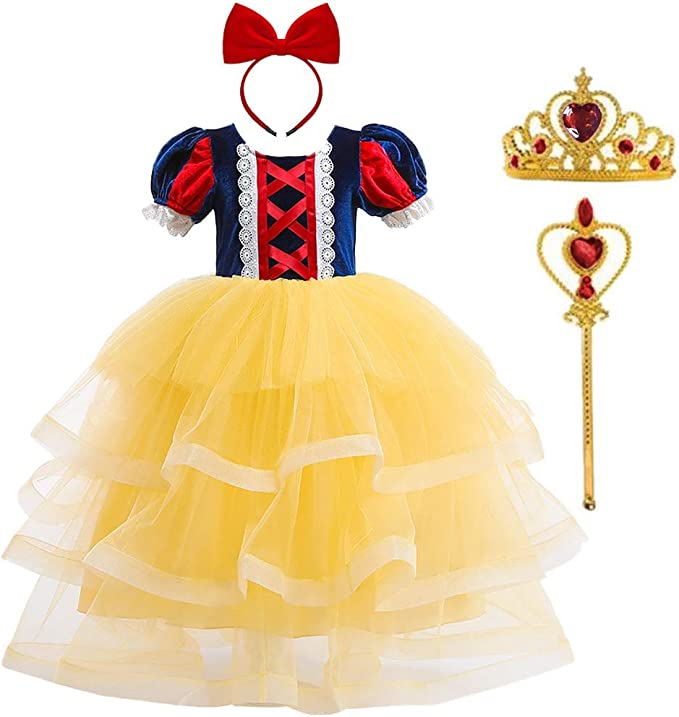 Disfraz de Blancanieves Niña Vestido Largo Tutu Tul Princesa ...
