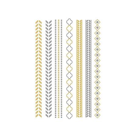 Cdet 1 x Tatuaje Metallic Flash Tatuajes en Oro y Plata temporales ...