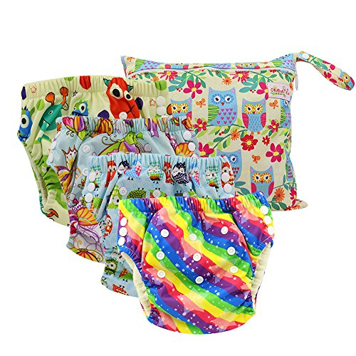 Ohbabyka Reusable Baby Training Pants,Baby Waterproof Pants 4pcs, 1pc Single Zipper Dry Bag by OHBABYKA