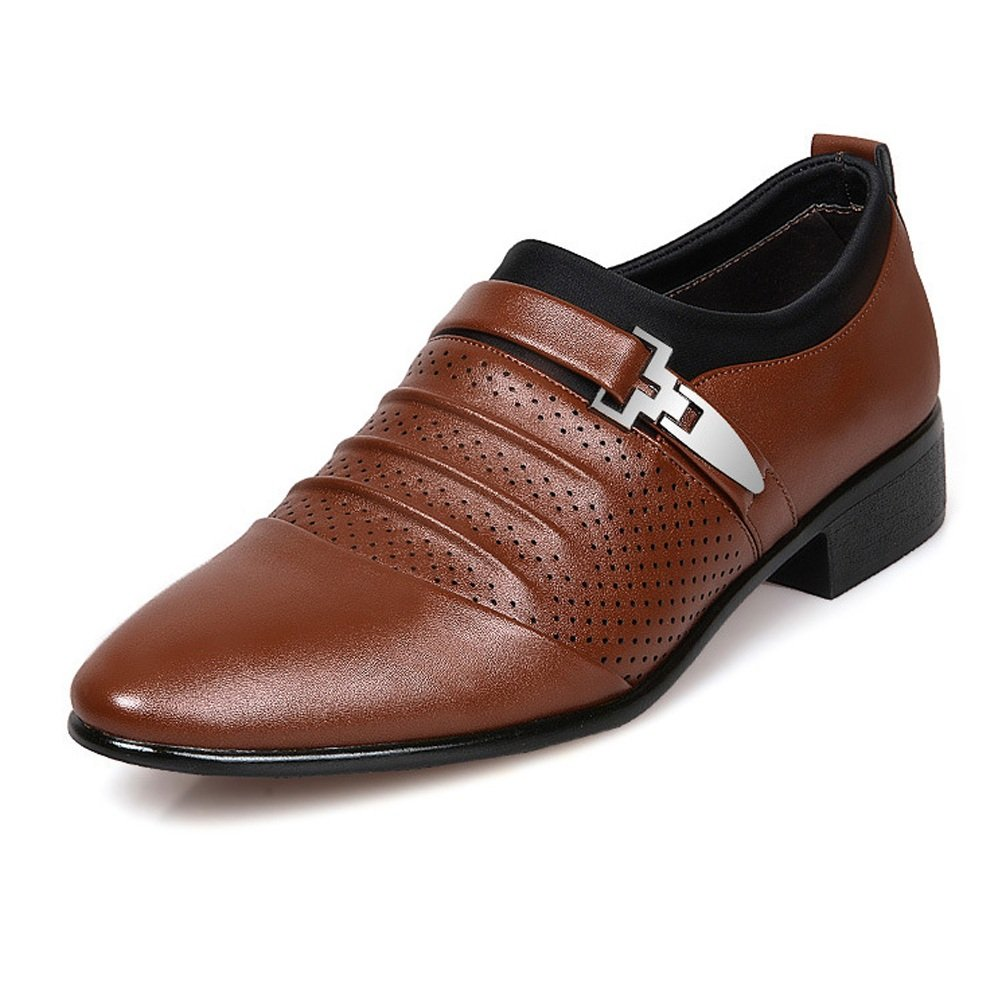 YLY Mens Business Shoes Smooth PU Leather Splice Upper Slip-on Breathable Mesh Oxfords Driving Shoes