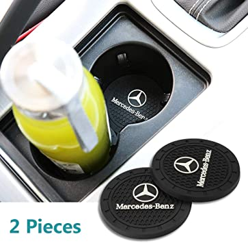 White 2.75 Inch Diameter Cup Holder Pad Car//Vehicle Interior Accessories Anti Slip Cup Holder Coaster Can Insert Mats 2PCS for Mercedes-Benz Accessories