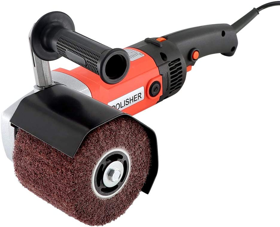 Handheld 1400W Metal Burnishing Machine,Electric Sander Polisher for Wood Stainless Steel Polishing with One Wheel,6 Variable Speed,Lock Switch,Auxiliary Handle
