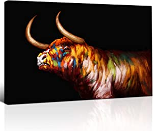 LoveHouse Highland Cow Picture Wall Art Print on Canvas Colorful Texas Longhorn on Black Background Farm Animal Stretched Framed Painting Decor for Office Living Room Bedroom Modern Home Decor Ready to Hang 24x36inch