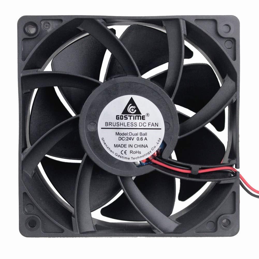 GDSTIME High Airflow 24V 120mm x 120mm x 38mm Dual Ball Bearing 5 Inch Brushless Cooling Fan