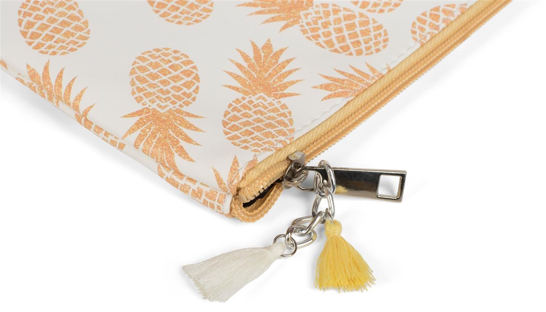 borsello colore:Bianco-arancio styleBREAKER borsa a mano organizer con stampa ananas pochette portatrucchi da donna 02013011 clutch