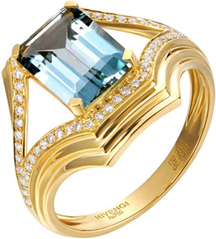 Daesar Anillo de Mujer Oro Azul Claro Anillos de Compromiso Oro Amarillo 18K Rectángulo Aguamarina Azul Claro 2.06ct Diamante 0.211ct