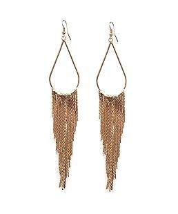 Tassel Earring 70's Retro Alloy Metal Long Hoop Earrings Ancient Golden for Women