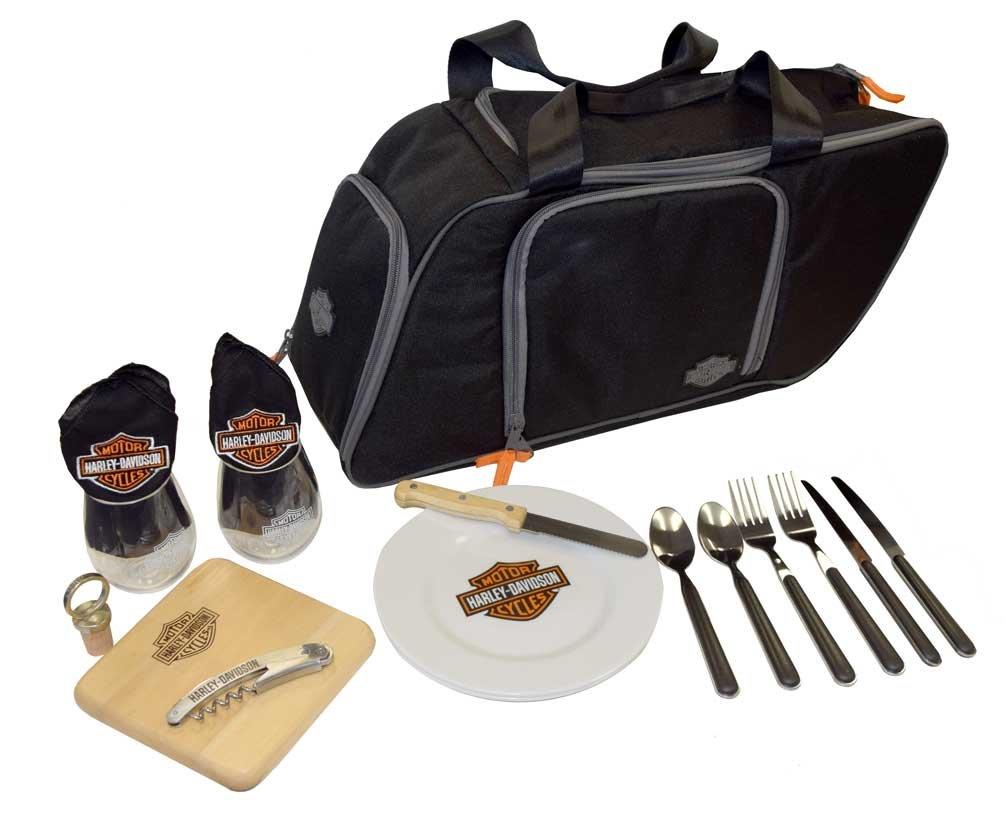 Harley-Davidson Saddlebag Picnic Set, Bar & Shield Logo, Black 435-42