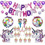 M-Aimee PartyParts Unicorn Party Supplies and Decorations for Girl's Birthday Party | Unicorn Kit with Helium Balloons and Gold Glitter Unicorn Headband Horn Happy Birthday Unicorn Banner |Cute Accessories