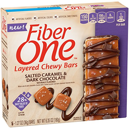 Fiber One Salted Caramel & Dark Chocolate Layered Chewy Bars, 5 Count (Pack of 8)