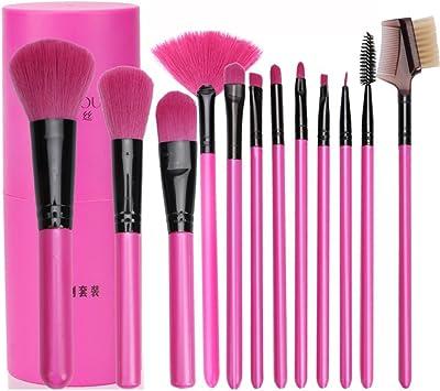 Juego de brochas profesionales de maquillaje para sombra, delineador, polvos, colorete, 12 unidades con estuche: Amazon.es: Belleza