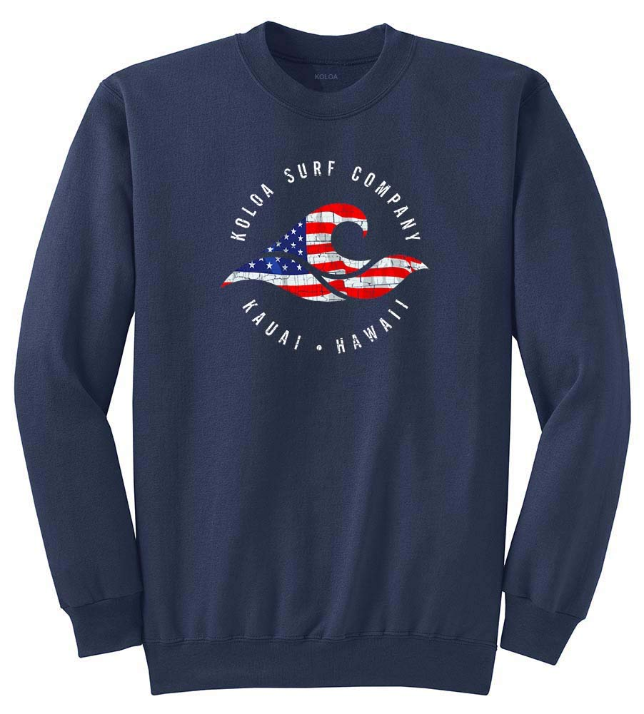 Koloa Surf Vintage USA Flag Wave Logo Crewneck Sweatshirt USA-Navy/c-S