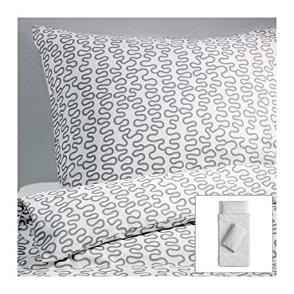 Funda Nordica Ikea 90.Ikea Krakris Sheet Set 155 X 220 Cm White Grey Amazon Co Uk
