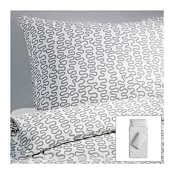 Ikea Bettwäsche Set Krakris 155x220 Weißgrau Amazonde Küche