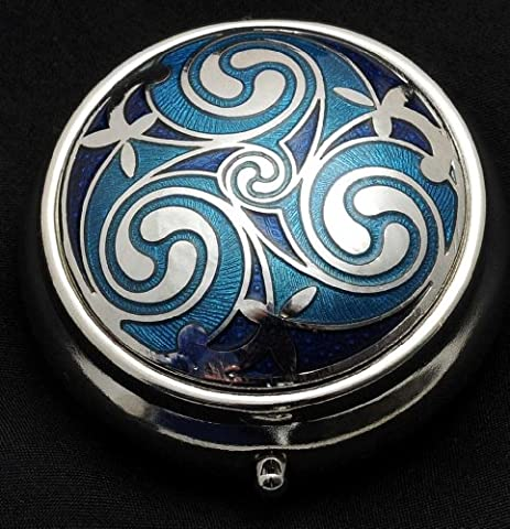 Pill Box in a Celtic Triskele Design. (Blue)