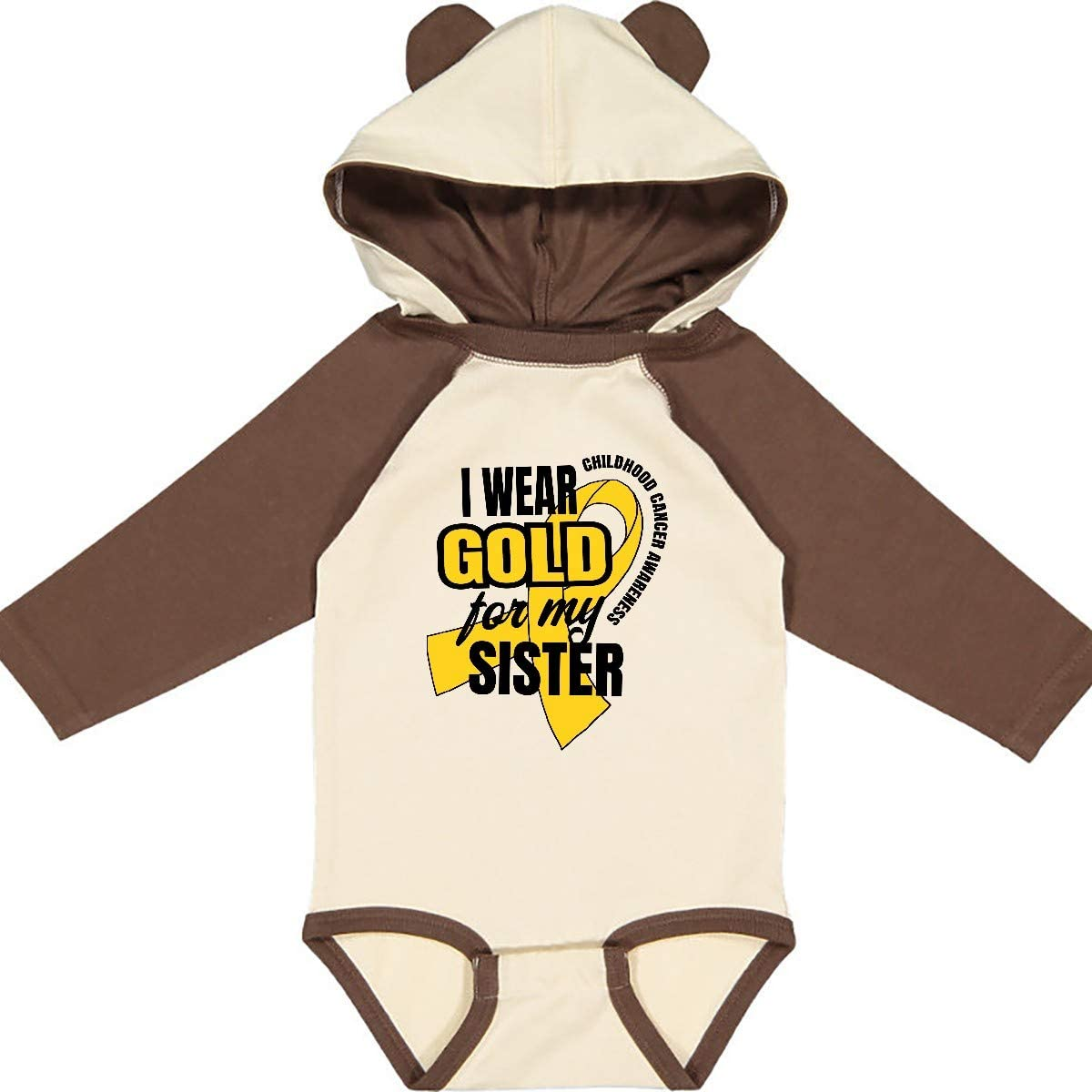 inktastic I Wear Gold for My Sister Childhood Cancer Long Sleeve Creeper