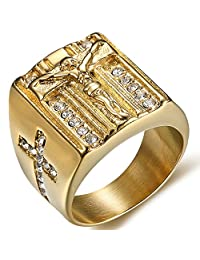 Jude Jewelers Stainless Steel Christian Jesus Cross Ring