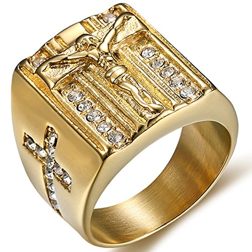 Jude Jewelers Stainless Steel Christian Jesus Cross Ring (Gold, 10) (Cross Cross Gold Ring)
