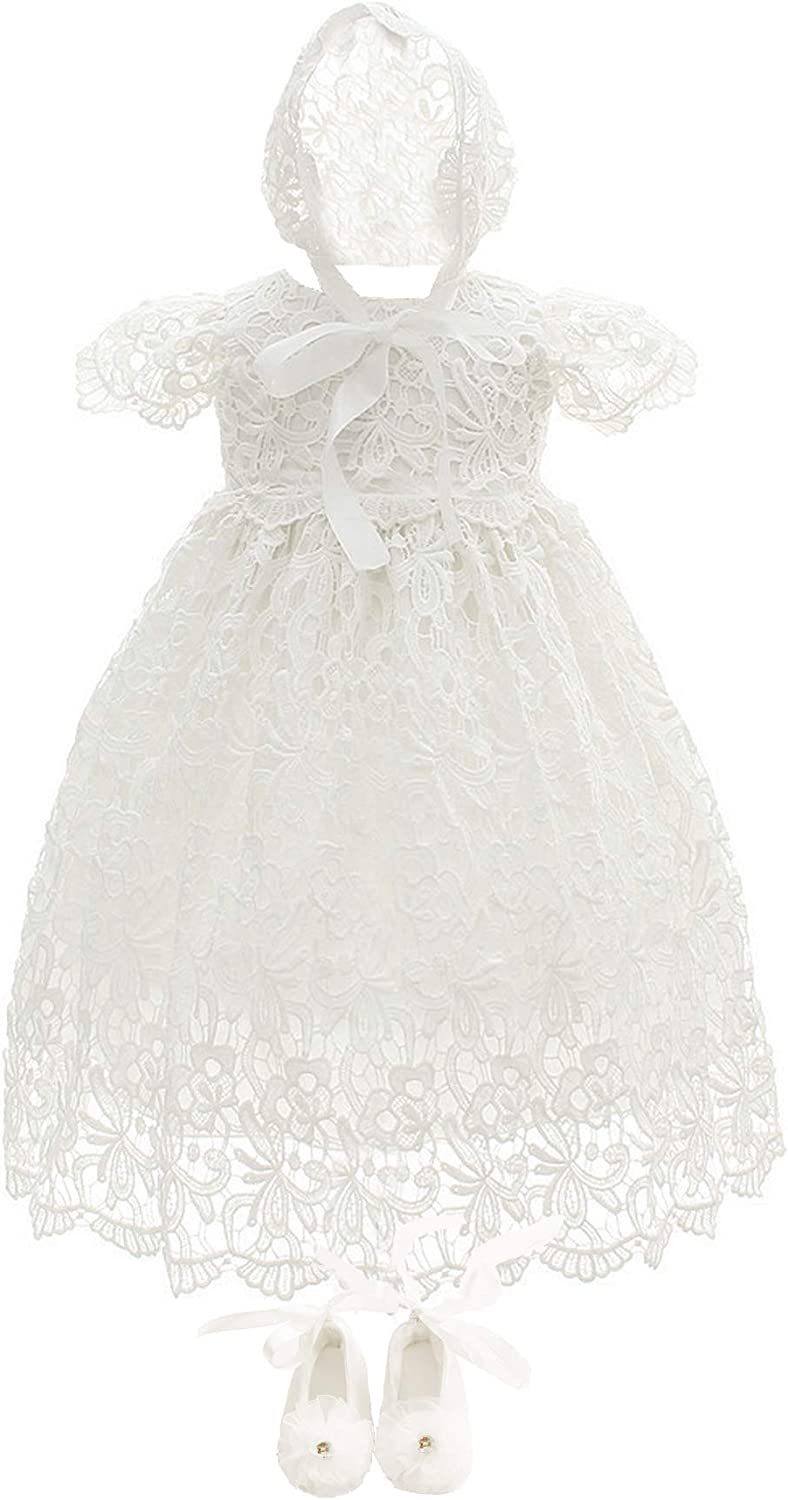 Bow Dream Baby Girls Formal Party Special Occasion Dresses 3Pcs Christening Baptism Dress