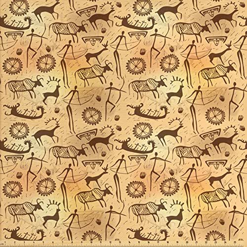 Ambesonne Primitive Decor Fabric by the Yard, Dated Irregular Caveman Paint Forms with Bird and Cow Shape Early Modern Humans Artwork, Decorative Fabric for Upholstery and Home Accents, Tan Brown