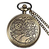 YISUYA Vintage Bronze Doctor Who Retro Dr Who Pocket Watch with Chain Mens Boys Necklace Pendant Gift Box Bild 2