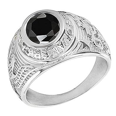 683560e7dda egobijoux Chevalière américaine Universitaire Argent avec oxyde de Zirconium  Noir (56)