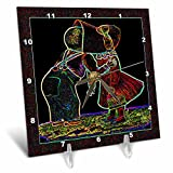 3dRose dc_8106_1 Vintage Young Love in Neon-Desk Clock, 6 by 6-Inch