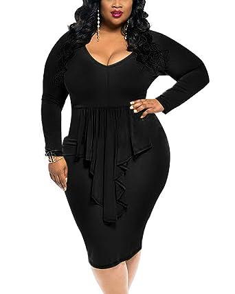 YOUBENGA Women s Plus Size Sexy Long Sleeve Ruffle Club Bodycon Midi Dress  Black L 50578424f8ee