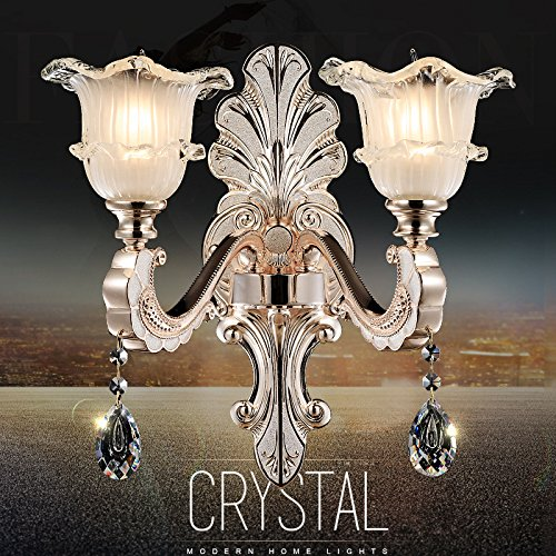 RLYYBE1 DIY Wall Light Creative Modern Rustic Industrial Vintage And Simple Led Crystal Walls Bedroom Living Room Outdoor Decorative Lamp Sconce Lighting Crystal retro , Wall (Dual-head- luxurious cry