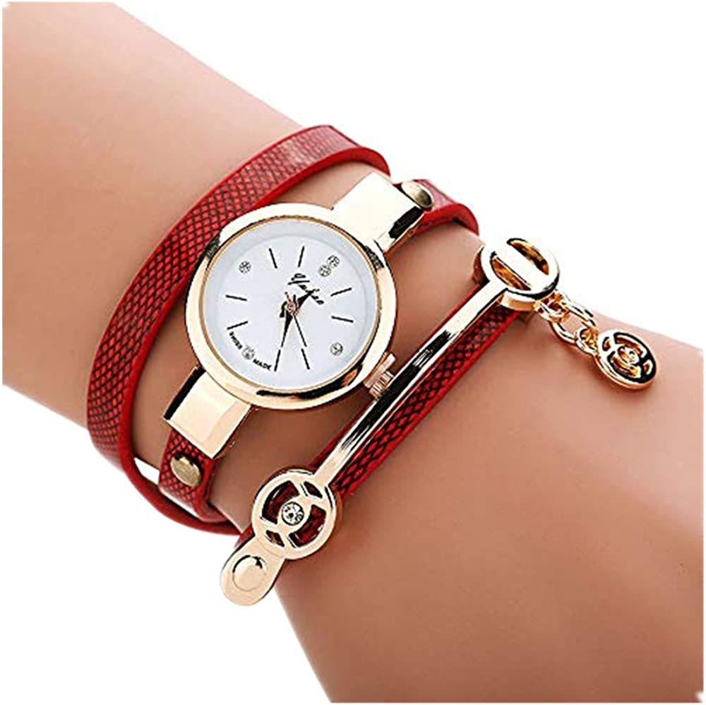 ZODOF Reloj De Las Mujeres Elegante Encantador Tejido Envolver Pulsera Reloj de Pulsera Vendimia Cuero Elegante Cadena de Reloj de Cuarzo