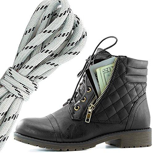 Dailyshoes Donna Militare Allacciatura Fibbia Stivali Da Combattimento Caviglia Alta Esclusiva Tasca Per Carte Di Credito, Grigio Nero Nero Pu