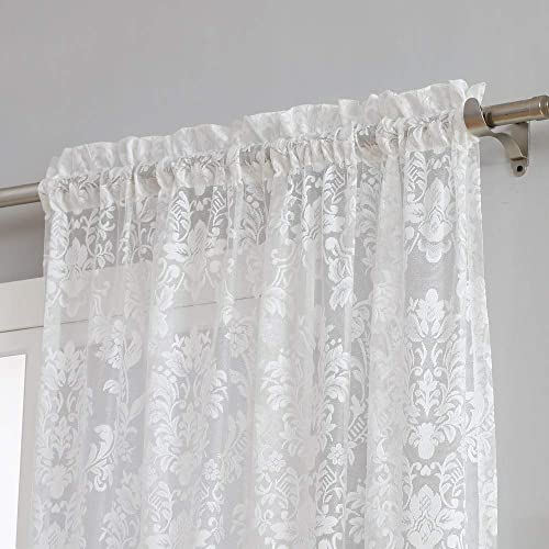 Warm Home Designs Pair of Standard Size 54 Inches Wide x 84 Inches Long Ivory Color Knitted Lace Curtains with Rod Pocket. Drapes Let The Light Flow in While Providing Some Privacy. FI Ivory 84
