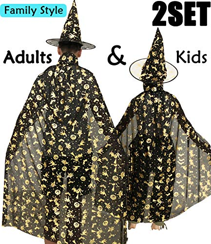 Camlinbo Halloween Witch Costumes Womens Cloak Boy Girl Wizard Cape Party Hat Cosplay Party Favor Dress up (B Black Adult)