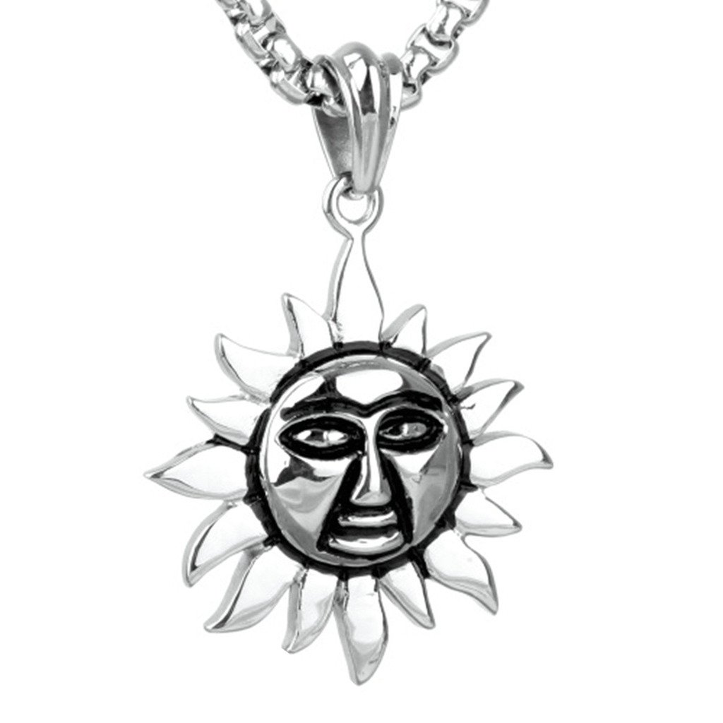 MoAndy Stainless Steel Jewelry Stainless Steel Necklace Men Pendant Necklace Sun Silver