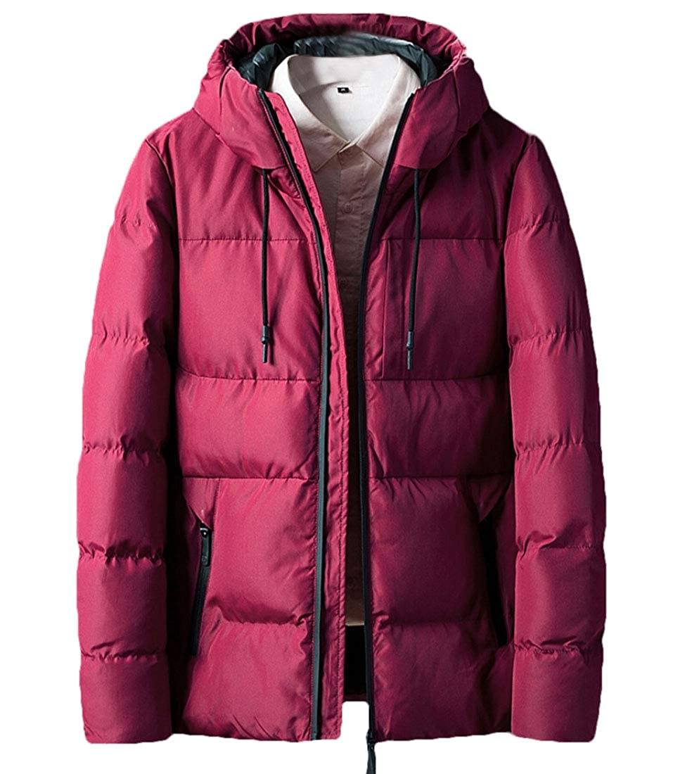 desolateness Mens Winter Quilted Thick Warm Outwear Linen Cotton Hood Down Coat