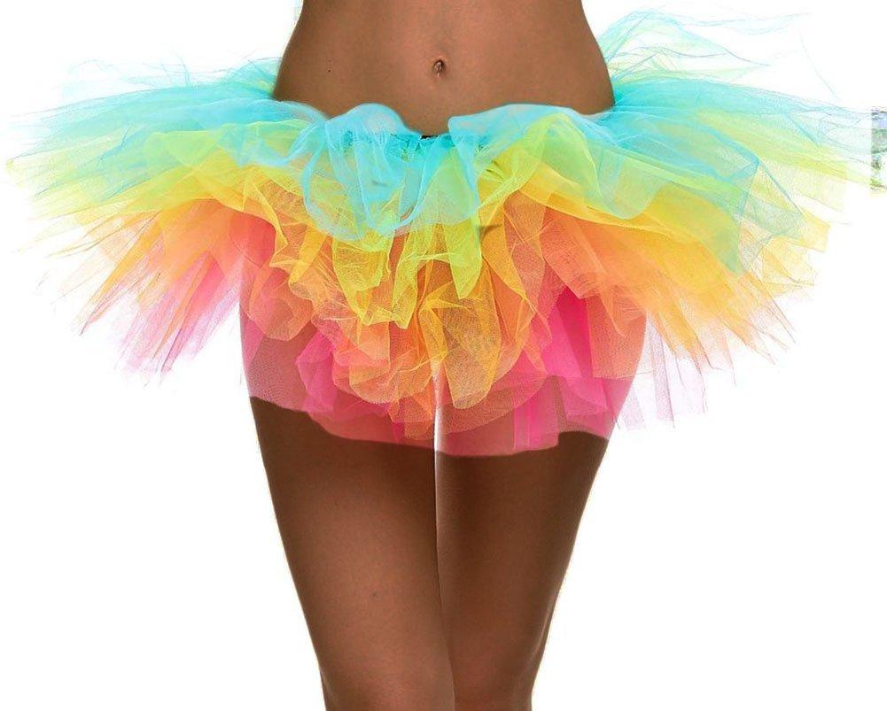 Simplicity Women's Rainbow Classic 5-Layered Tulle Tutu Halloween Skirt Dance Petticoat