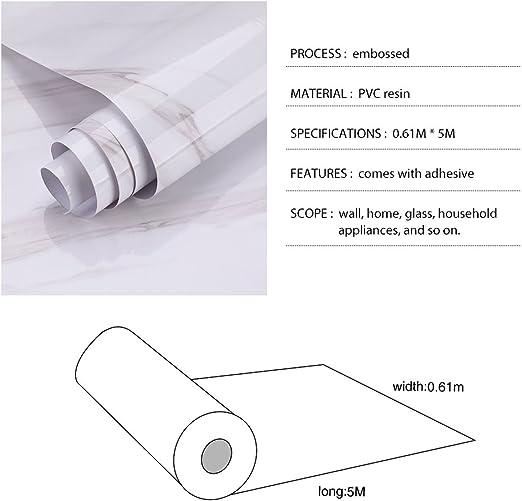 KINLO 0.61 x 5M per Rollo Patr/ón de M/ármol Vinilos Impermeables Pegatinas Adhesivas para Muebles Papel Pintado Pared Autoadhesivo de PVC para Encima//Cocina//Ba/ño//Dormitorio a Prueba de Agua