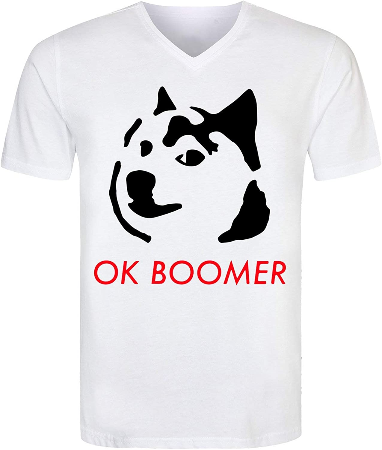 KRISSY Ok Boomer Doge Dog Mens T-Shirt V Neck Hombre Camiseta: Amazon.es: Ropa y accesorios