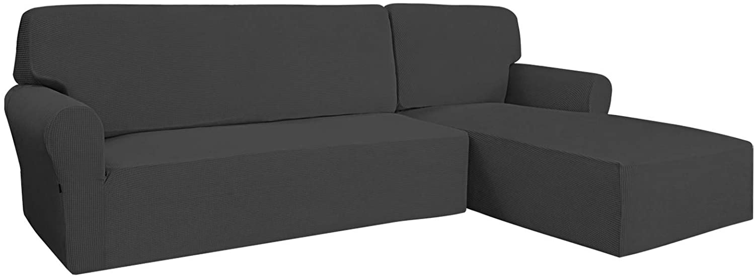 Easy-Going Stretch Sofa Slipcover 2 Pieces L-Shaped Cover Sectional Couch Cover for Living Room Jacquard Fabric Chaise Lounge Slipcover with Elastic Bottom for Dogs Kids Pets(X-Large Dark Gray)