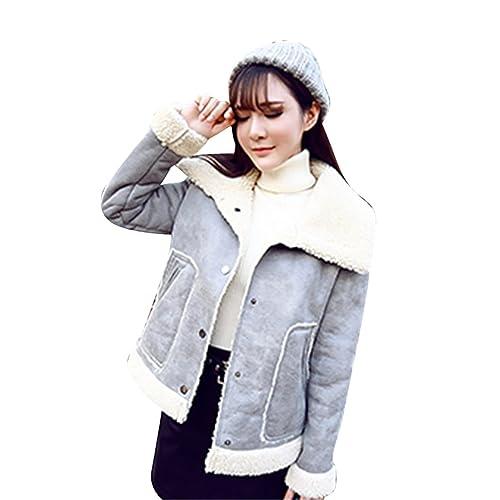 ZKOO Otoño Invierno Chaqueta Cálido Corta Abrigo Elegante de Manga Larga Parka de la Mujer Gris Asia...
