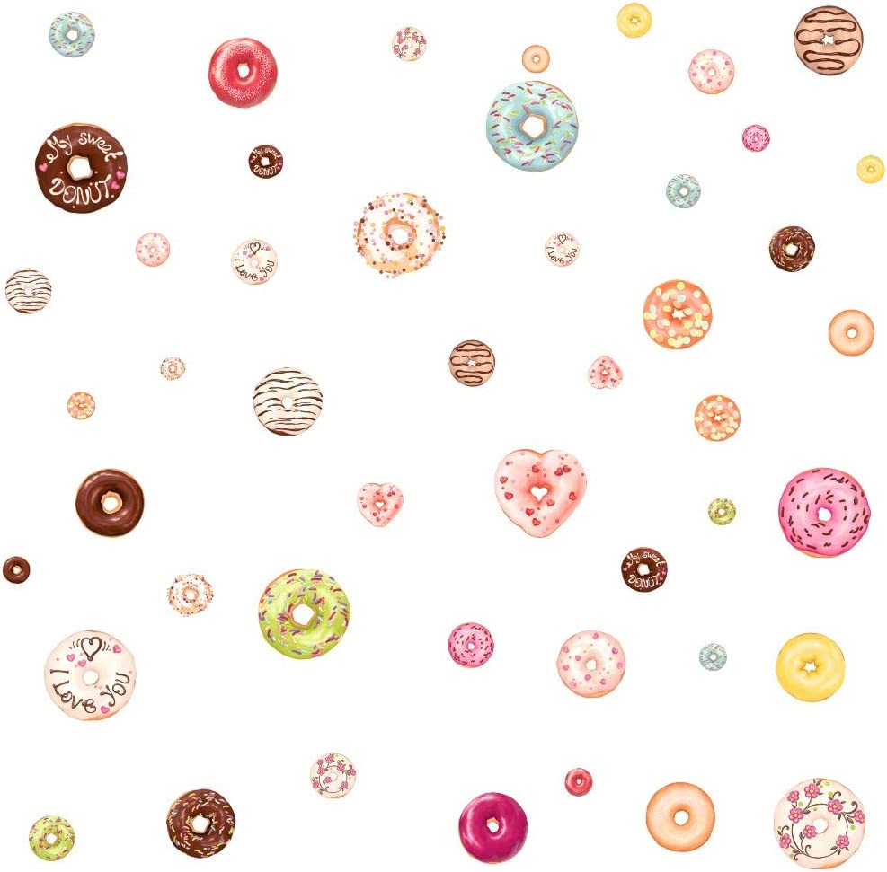 Donut Decal Nursery Decal Christmas Decorations Home Decorations, 48 Count