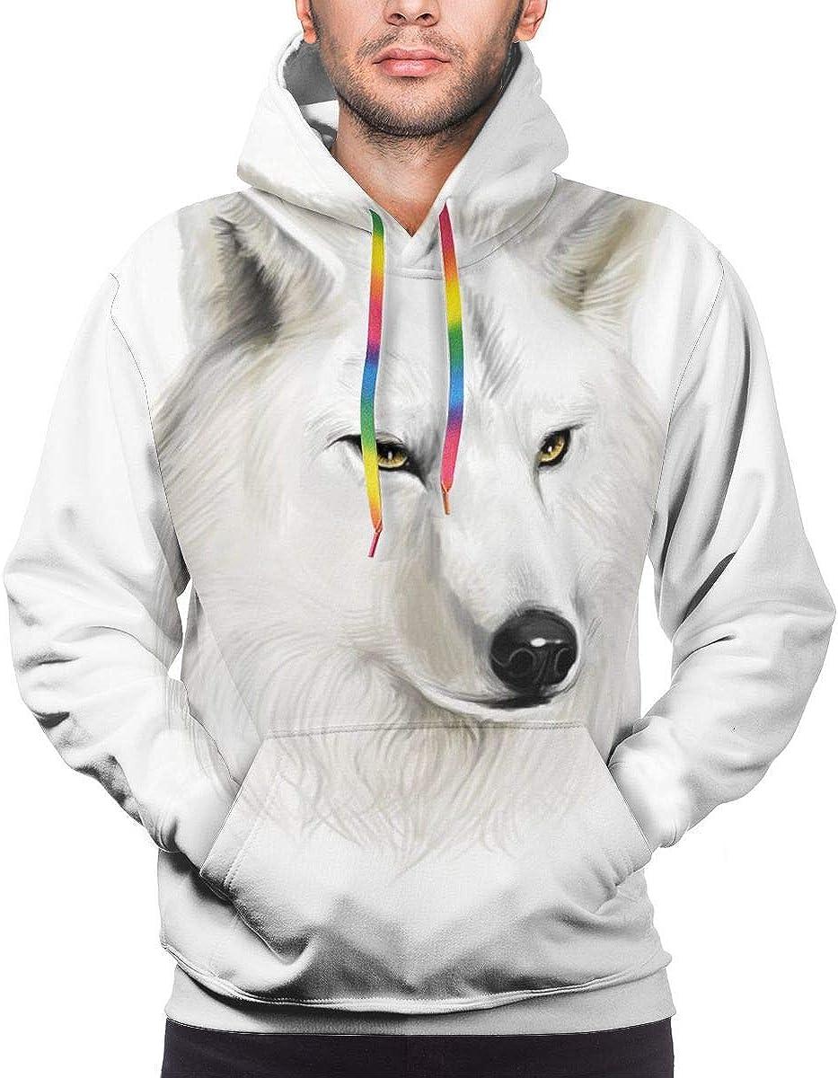 Men's Hoodies 3D Print Pullover Sweatershirt,White Canine Head with Great Detail Hunter Mammal Wildlife Nature Scene Art,3XL