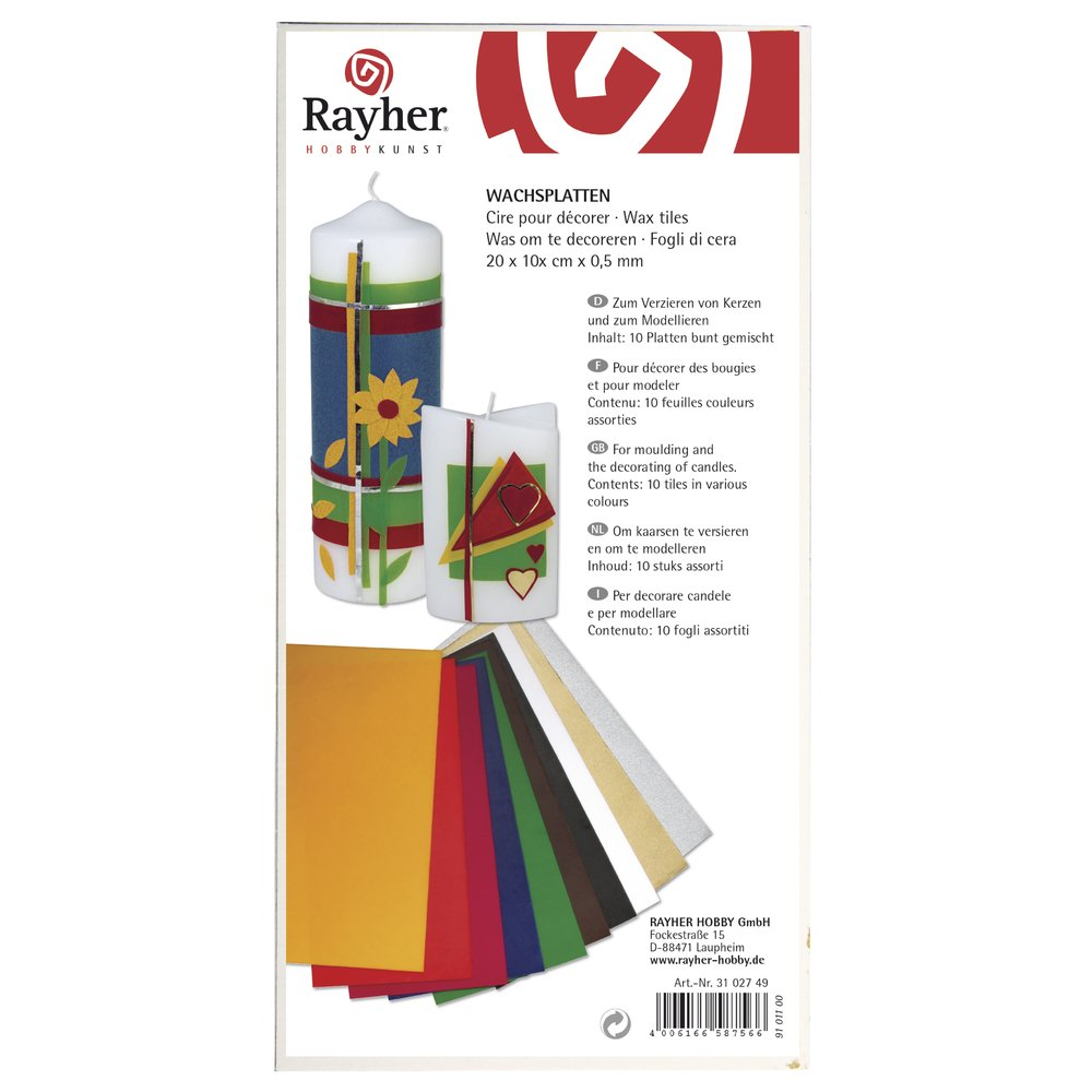 /20/x 10/cm Mixed Colours RAYHER 3102749/Wax/ /10/Assorted Colours/